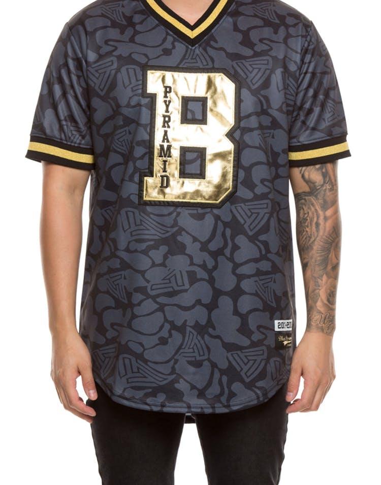 on sale d8520 9b0cb Black Pyramid Camo Baseball Jersey Black Gold