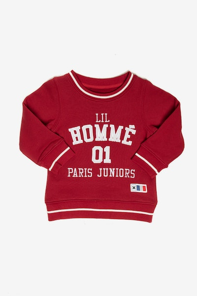 Lil Homme Paris Athletics Crewneck Crimson