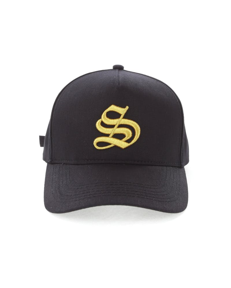 Saint Morta Written Letter Debossed Snapback Black/Gold