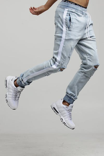 Saint Morta Versus Distressed Denim Jogger Light Blue