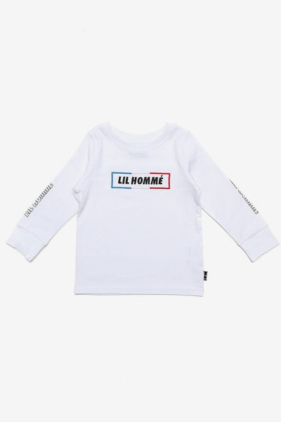 Lil Homme Tri Incline De Base L/S Tee White