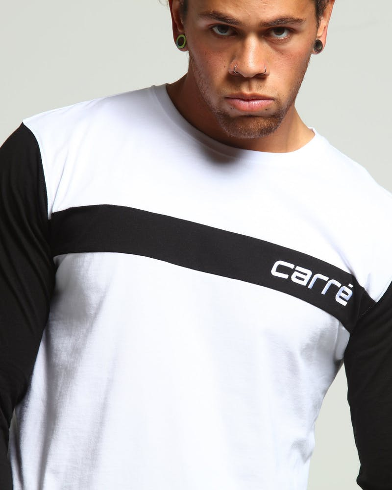 Carré Trait L/S Tee White/Black