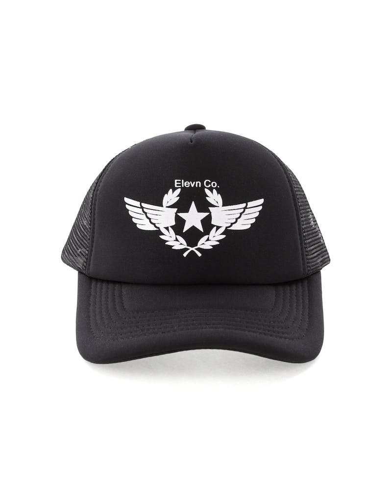 Elevn Clothing Co Wings Trucker Hat Black/White