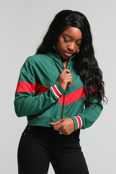 Criminal Damage Women's Portland Track Top Green/Red