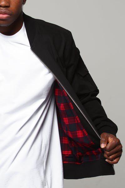 New Slaves Tartan Bomber Jacket Black