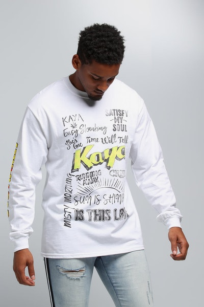 Bob Marley Kaya Lyrics LS Tee White