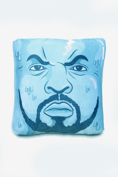 Goat Crew Cube Expression Pillow Blue/White
