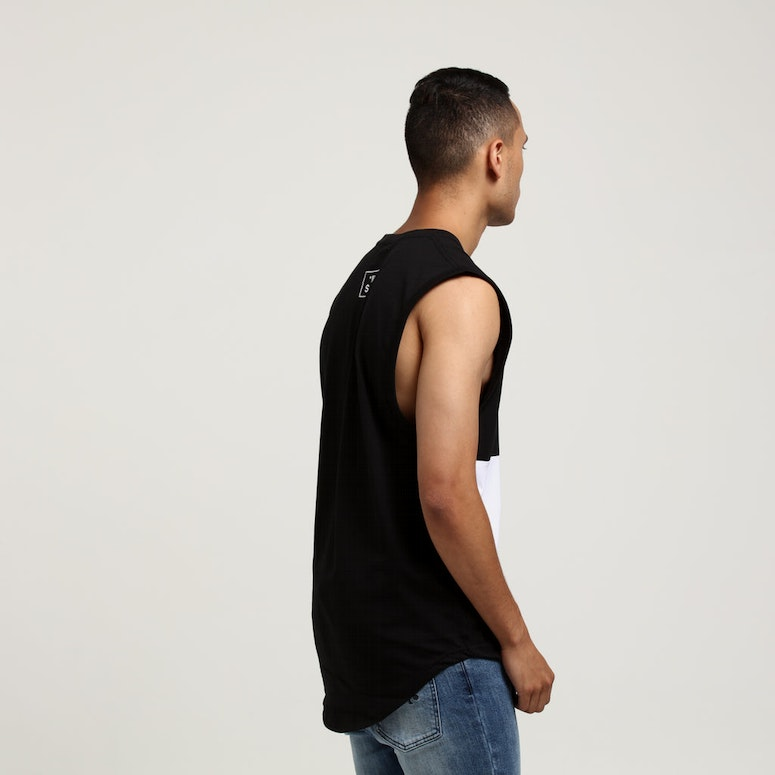 SAINT MORTA OCEANS PANELLED MUSCLE TEE BLACK/WHITE