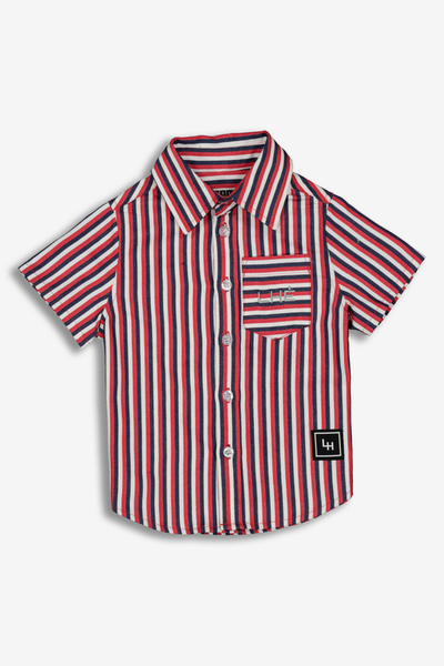 Lil Homme Pinnacle SS Button Up Shirt Blue/White/Red