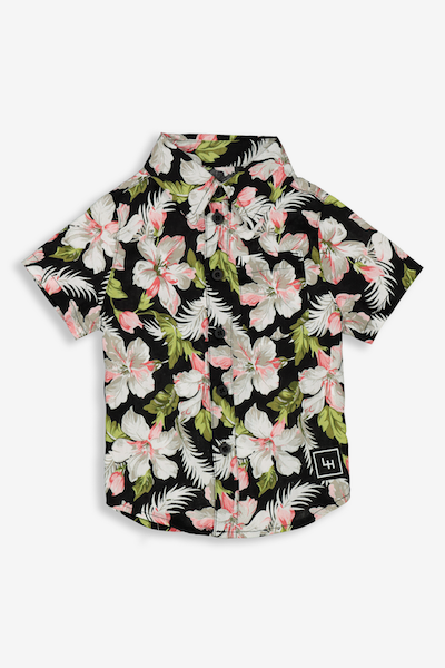 Lil Hommé Floret Button-Up Shirt Black/White/Red