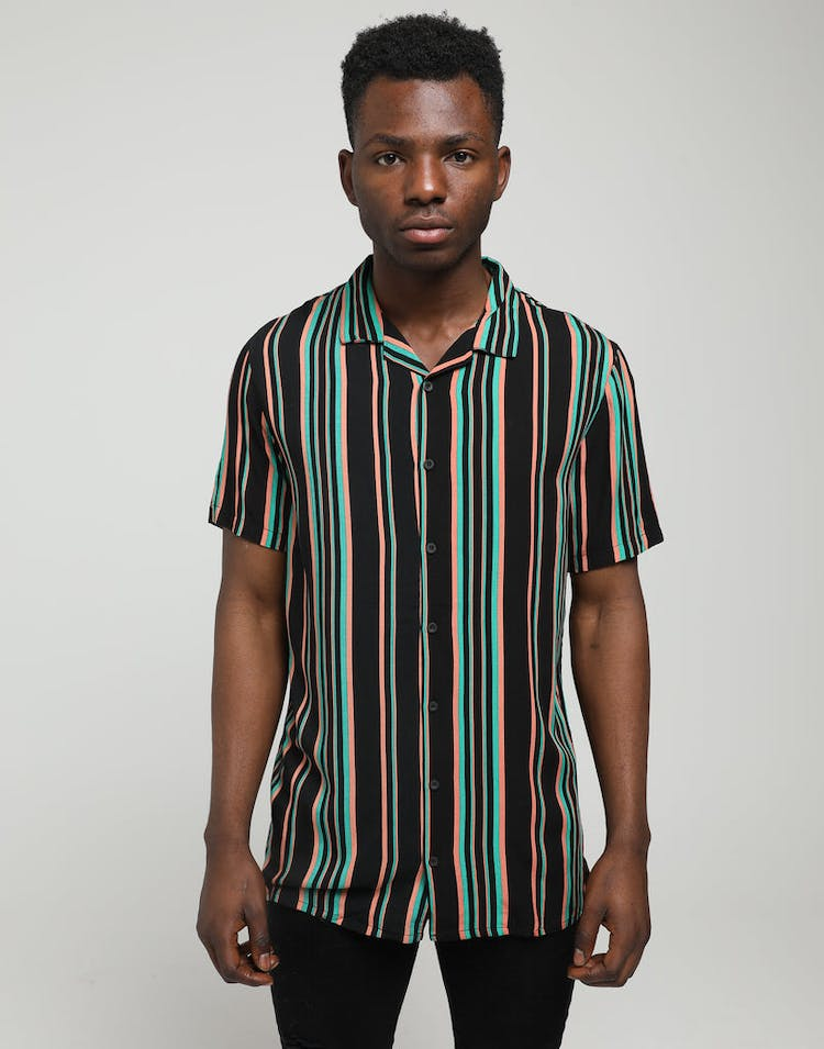 New Slaves 70s Stripe Shirt Black/Pink/Green