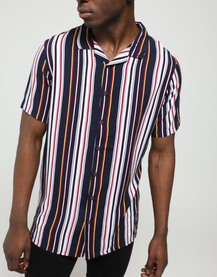 ENES 70s Stripe Shirt Navy/White/Burgundy