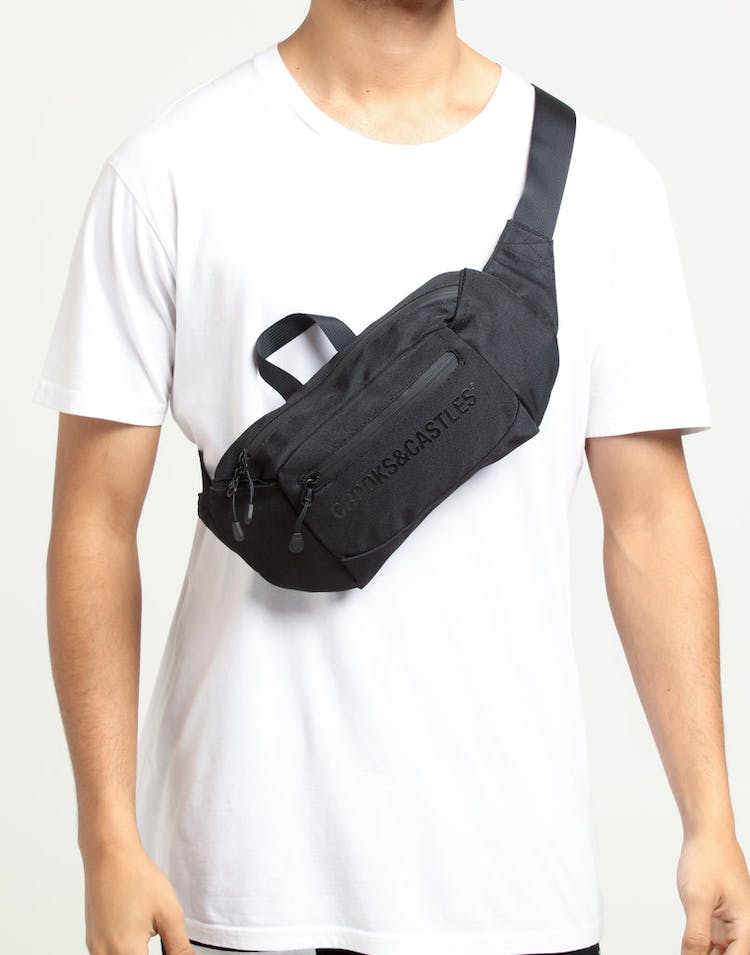 Crooks & Castles Logo Fanny Backpack Black