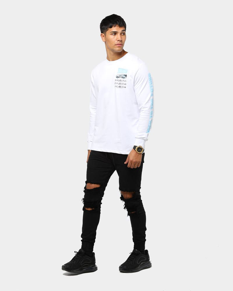 Criminal Damage x Back to the Future Men's Time Code Long Sleeve T-Shirt White/Multi-Coloured