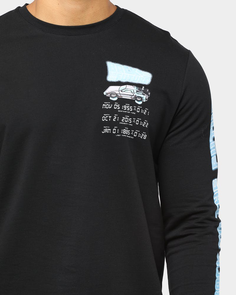 Criminal Damage x Back to the Future Men's Time Code Long Sleeve T-Shirt Black/Multi-Coloured