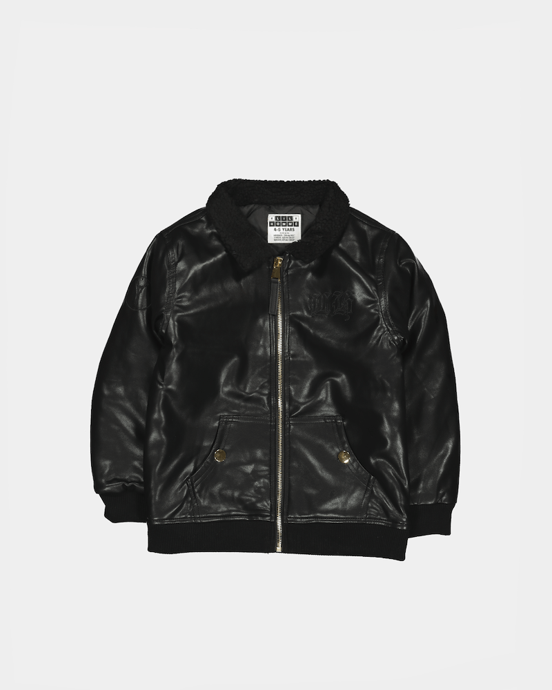Lil Hommé Kids Mafioso Leather Bomber Jacket Black