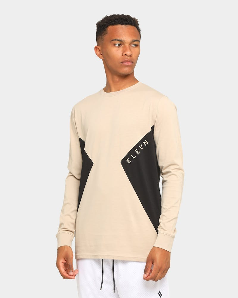 Elevn Clothing Co. Twin Peaks Long Sleeve T-Shirt Beige