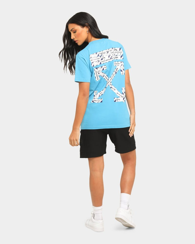 Off-White Airport Tape Short Sleeve T-Shirt Blue