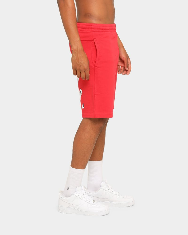 Off-White Airport Tape Sweatshorts Red