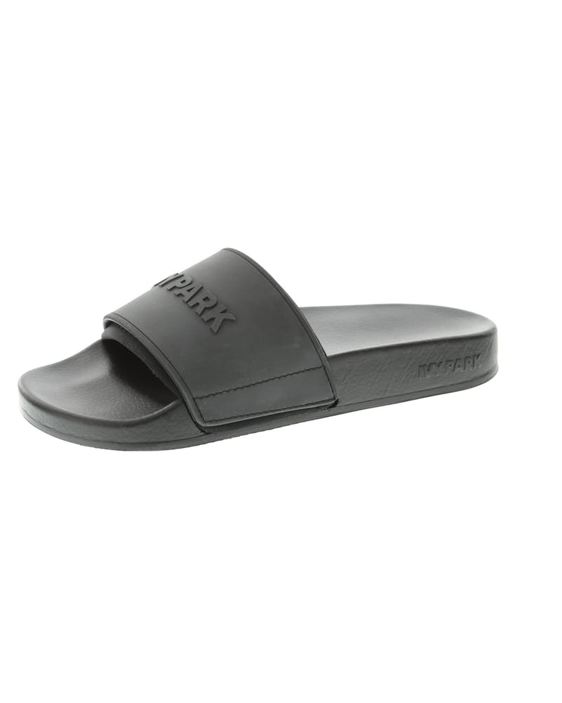 Ivy Park Neo Lined Embossed Logo Slides Black
