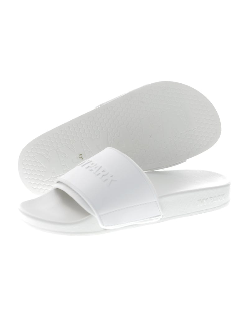 Ivy Park Neo Lined Embossed Logo Slides White