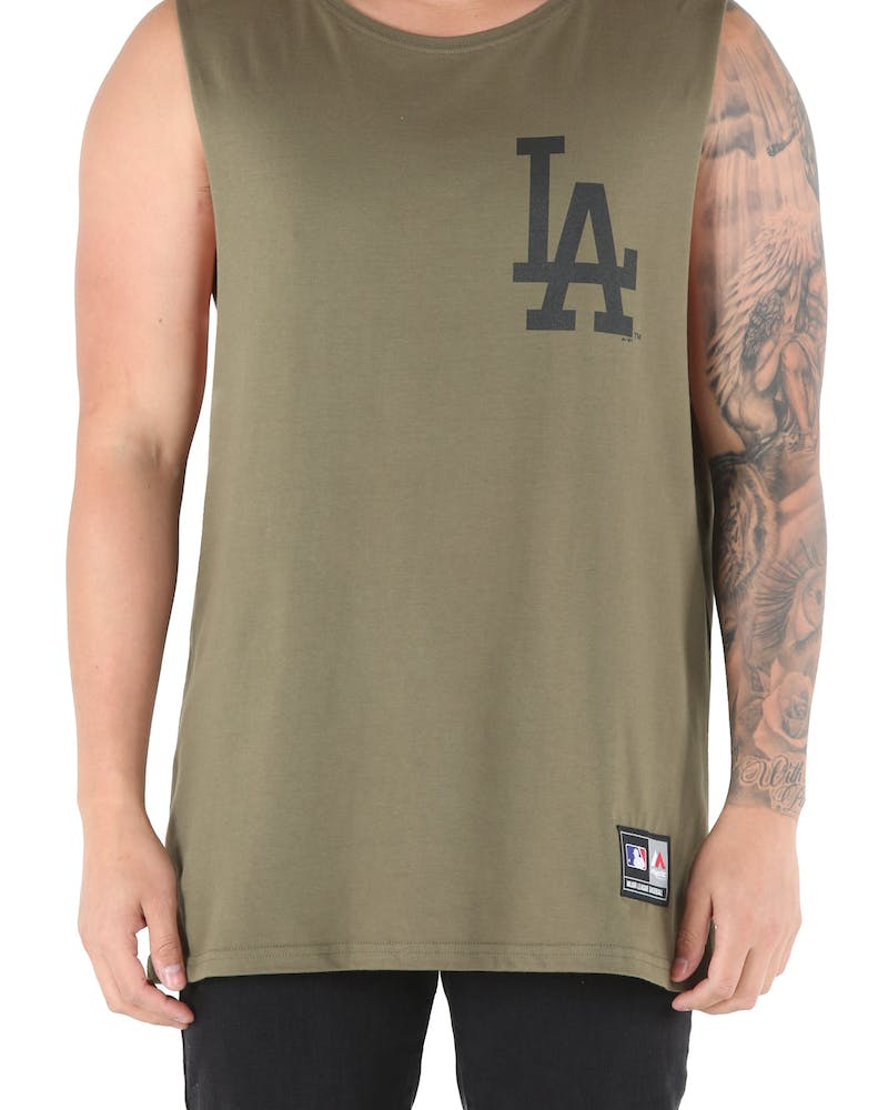 Majestic Athletic Dodgers Yisser Muscle Tee Olive/Black
