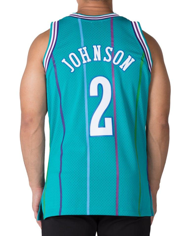 newest 6890a e0e53 Mitchell & Ness Charlotte Hornets Larry Johnson #2 Swingman Jersey  Teal/White