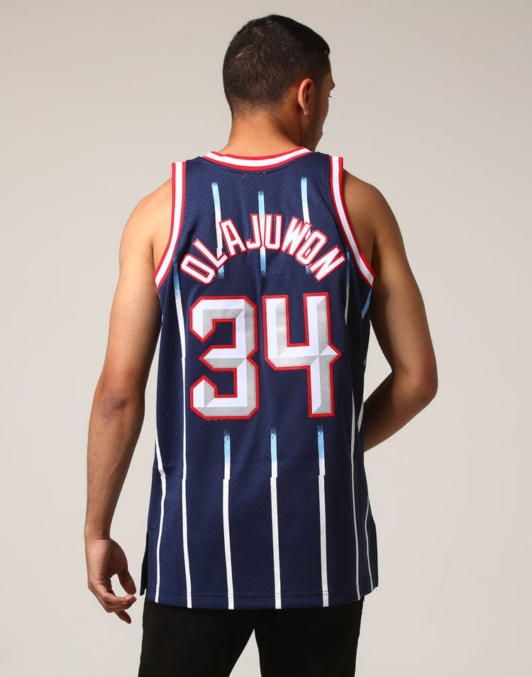info for 22d28 47d54 Mitchell & Ness Houston Rockets Hakeem Olajuwon #34 NBA Jersey Navy