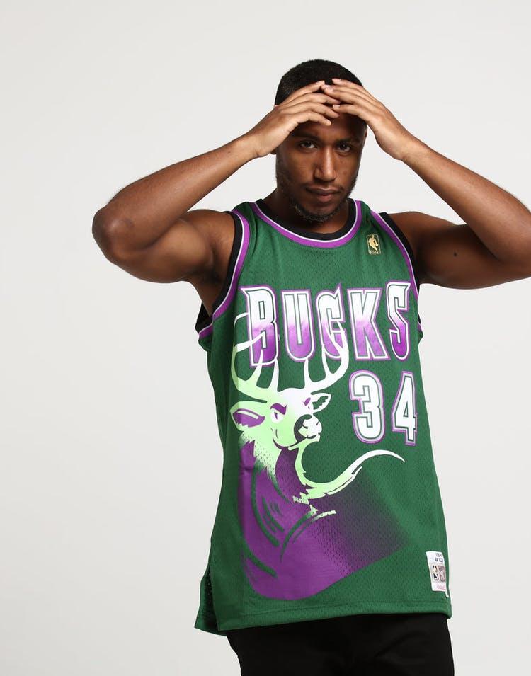 46d6720bb Mitchell & Ness Milwaukee Bucks Ray Allen #34 Swingman Jersey Green/Purple