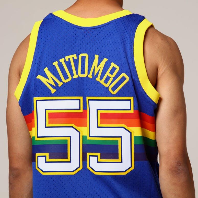 10b7f8d6fb8 Mitchell   Ness Denver Nuggets Dikembe Mutombo  55 NBA Jersey Royal