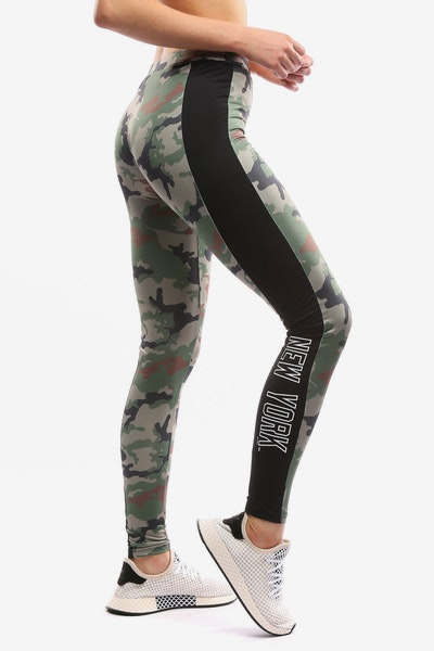Majestic Athletic Women's Yankees Panel Leggings Green Camo