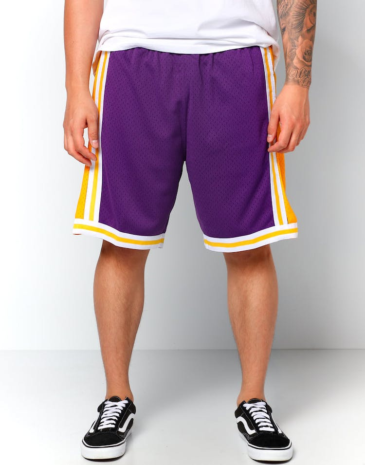 d61d88659c91 Mitchell   Ness Los Angeles Lakers 84 85 Swingman Shorts Purple Yellow