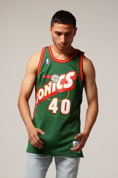 Mitchell & Ness Seattle Supersonics Shawn Kemp #40 NBA Jersey Green