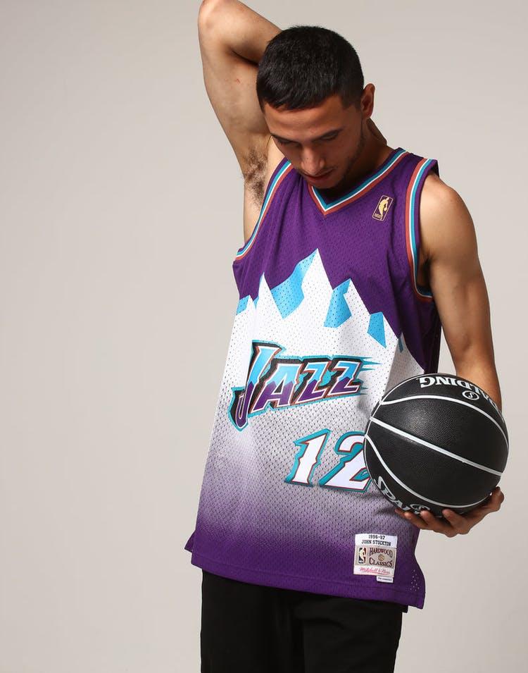 f41d7ae53ad Mitchell & Ness Utah Jazz John Stockton #12 NBA Jersey Purple ...