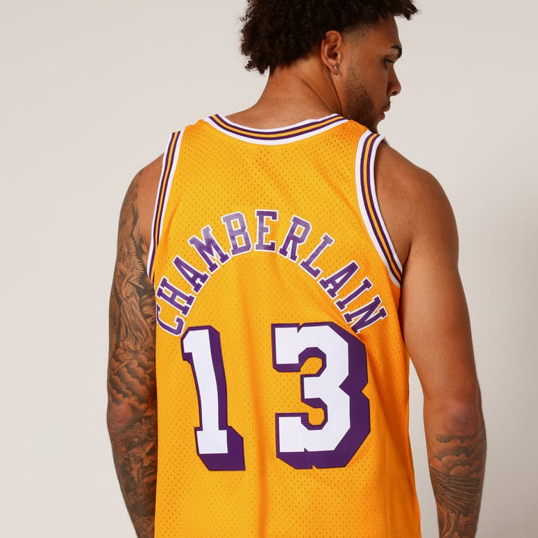 Mitchell   Ness Los Angeles Lakers Wilt Chamberlain  13 NBA Jersey Yellow cd056036f