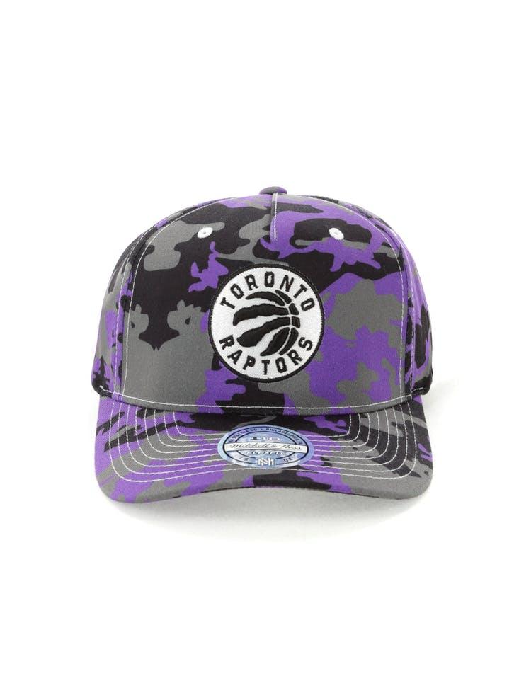 sale retailer 6b5ab 553fc Mitchell   Ness Toronto Raptors 110 Pinch Panel Snapback Camo Purple