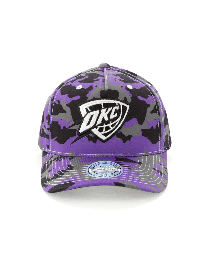 Mitchell & Ness OKC Thunder 110 Pinch Panel Snapback Camo/Purple