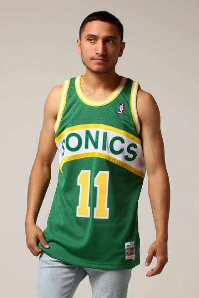 Mitchell & Ness Seattle Supersonics Detlef Schrempf #11 NBA Jersey Green