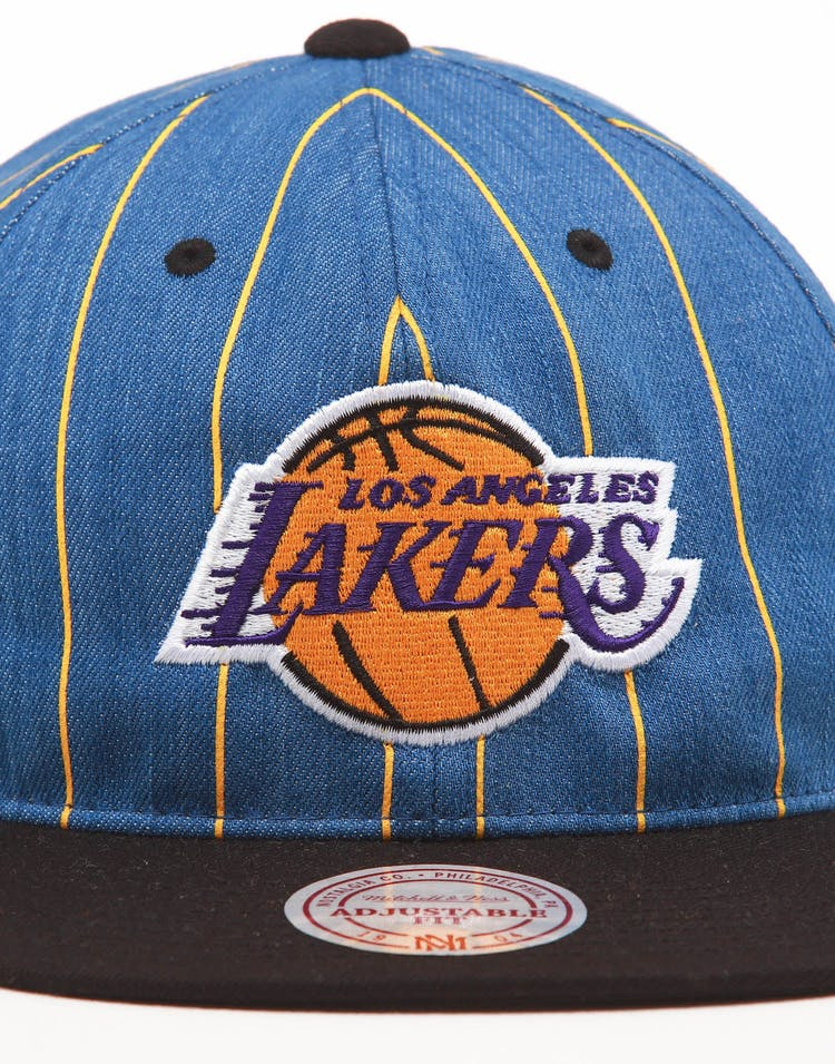 Mitchell & Ness Los Angeles Lakers Low Crown Retro Snapback Denim Pinstripe