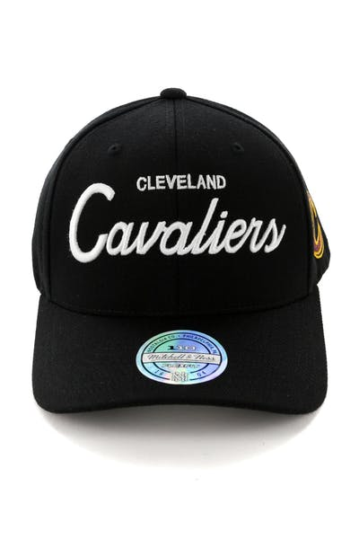 new product c9adf b0484 Mitchell   Ness Cleveland Cavaliers 110 Team Script Snapback Black ...
