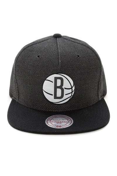 Mitchell & Ness Brooklyn Nets Woven Reflective Snapback Charcoal/Black