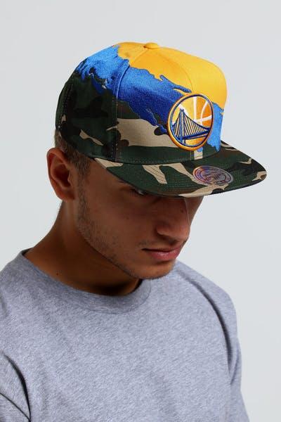 Mitchell   Ness Golden State Warriors Camo Paintbrush Snapback Royal Yellow 77801e626617