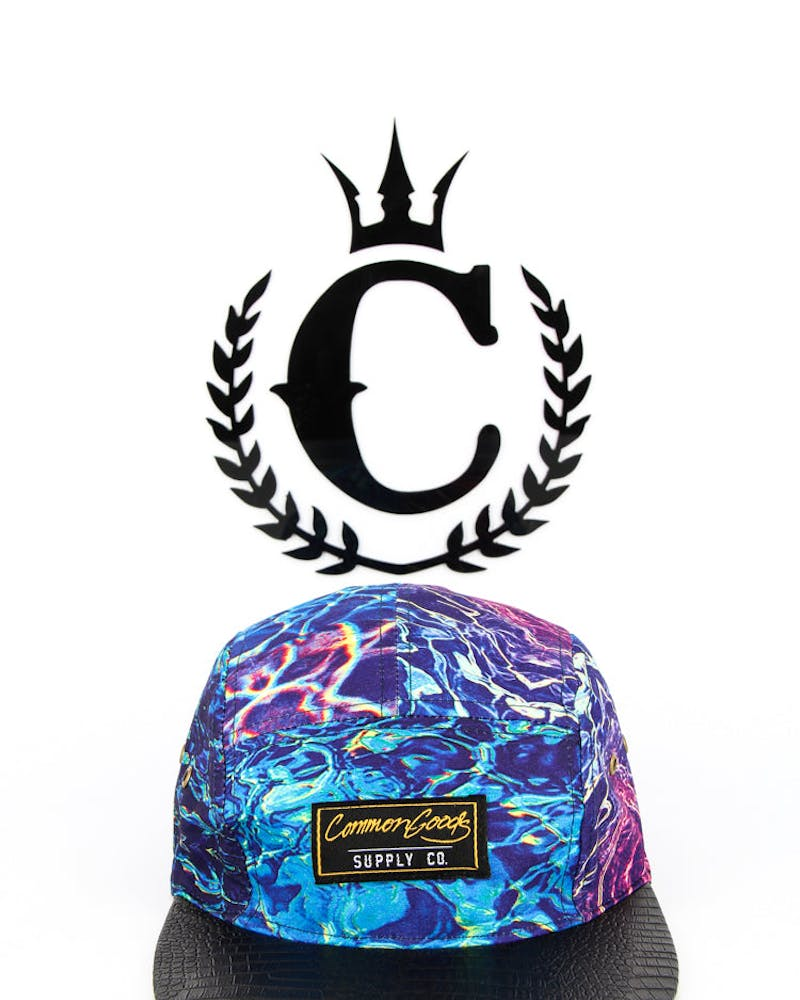 Water Camo 5 Panel Blue Camo/black