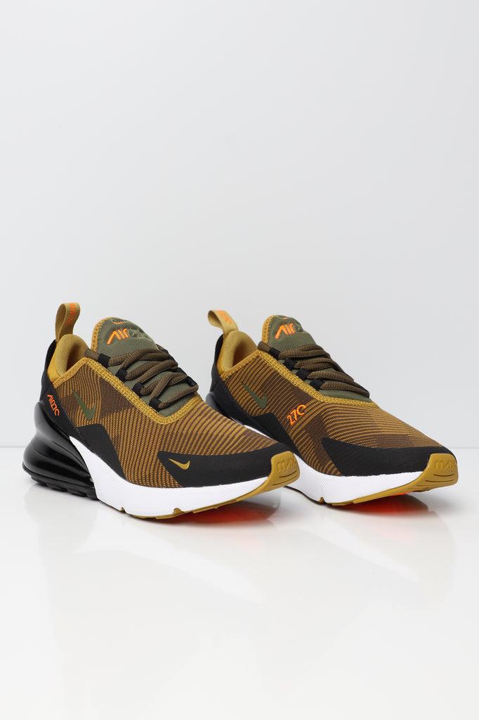 Nike Air Max 270 Jacquard Older Kids' Shoe Mustard/Black/White