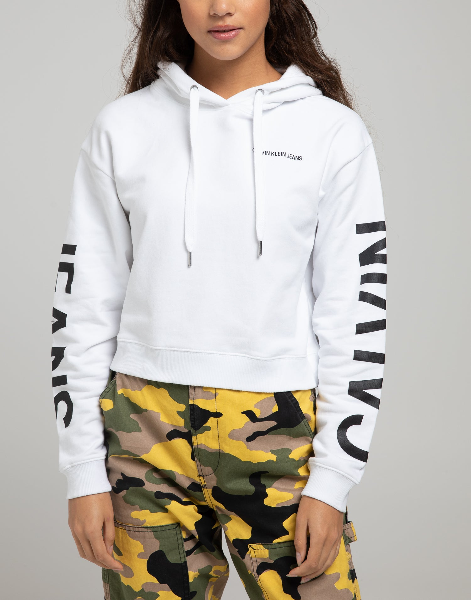 Calvin Klein Jeans Cropped Institutional W hoodie white
