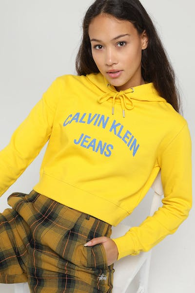 Calvin Klein Women's Curved Logo Crop Hood Lemon