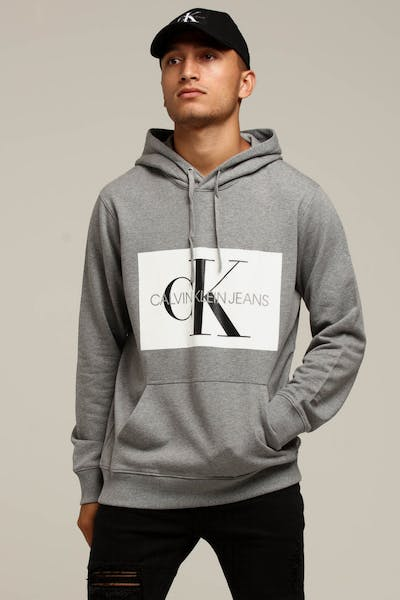 Calvin Klein Monogram Box Logo Reg Hoodie Grey Heather