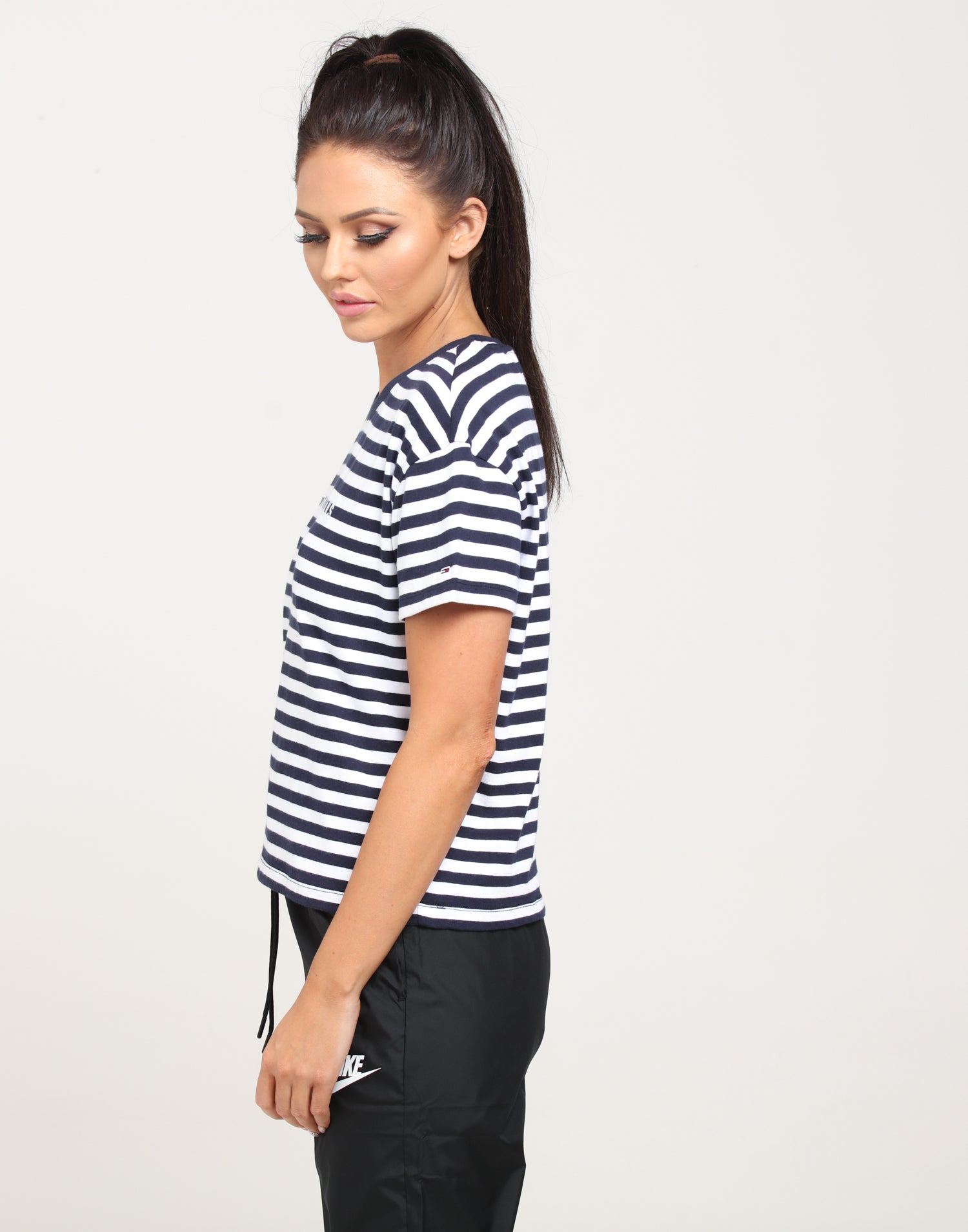 Tommy Jeans Tjw Stripe Corp Logo Tee T-Shirt Donna