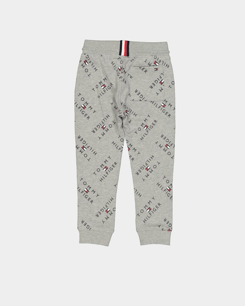 Tommy Jeans Kids All Over Print Tommy Logo Trackpant Light Grey Heather
