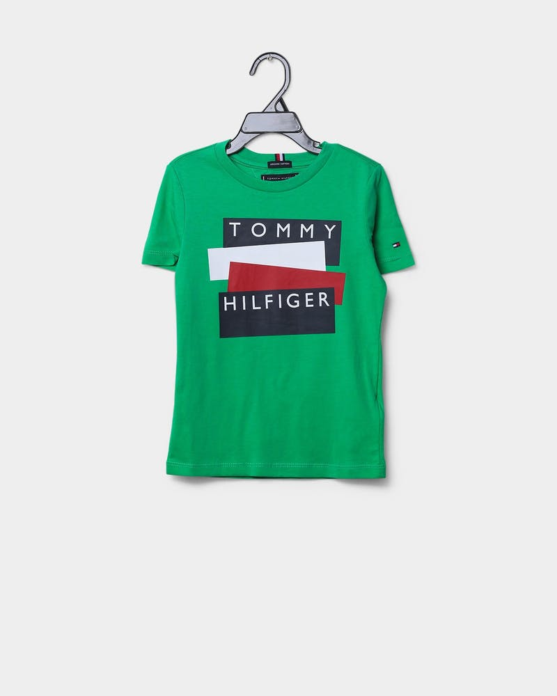 Tommy Jeans Kids TH Sticker Short Sleeve T-Shirt Cosmic Green